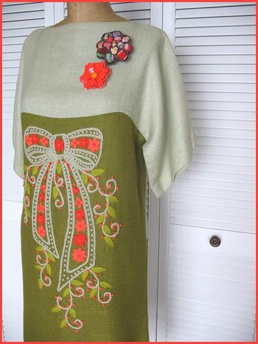 silk noil 60s dress