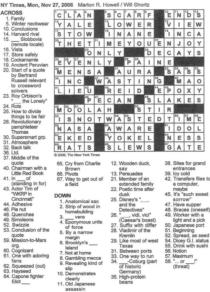 Rex Parker Ny Times Crossword Today : parker, times, crossword, today, Parker, Crossword, Puzzle:, MONDAY,, Marlon, Howell