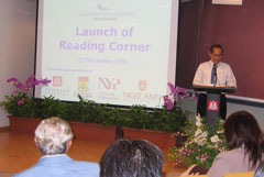 Launch of newspaper reading corners by Edward Khoo