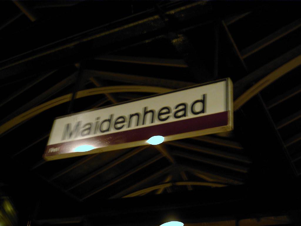 Maidenhead Station Sign at Midnight