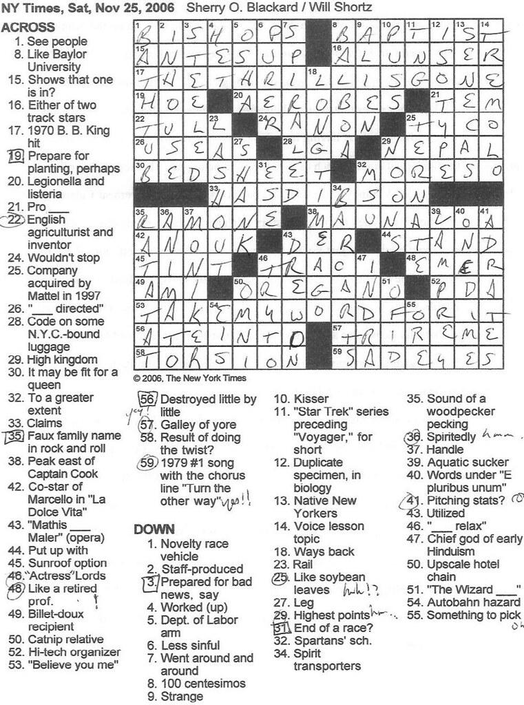 Rex Parker Ny Times Crossword Today : parker, times, crossword, today, Parker, Crossword, Puzzle:, SATURDAY,, Sherry, Blackard
