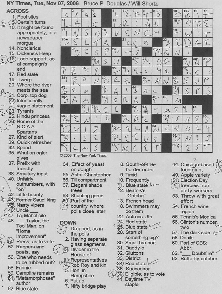 Rex Parker Ny Times Crossword Today : parker, times, crossword, today, Parker, Crossword, Puzzle:, TUESDAY,, Bruce, Douglas
