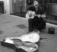 Busker playing the Hip