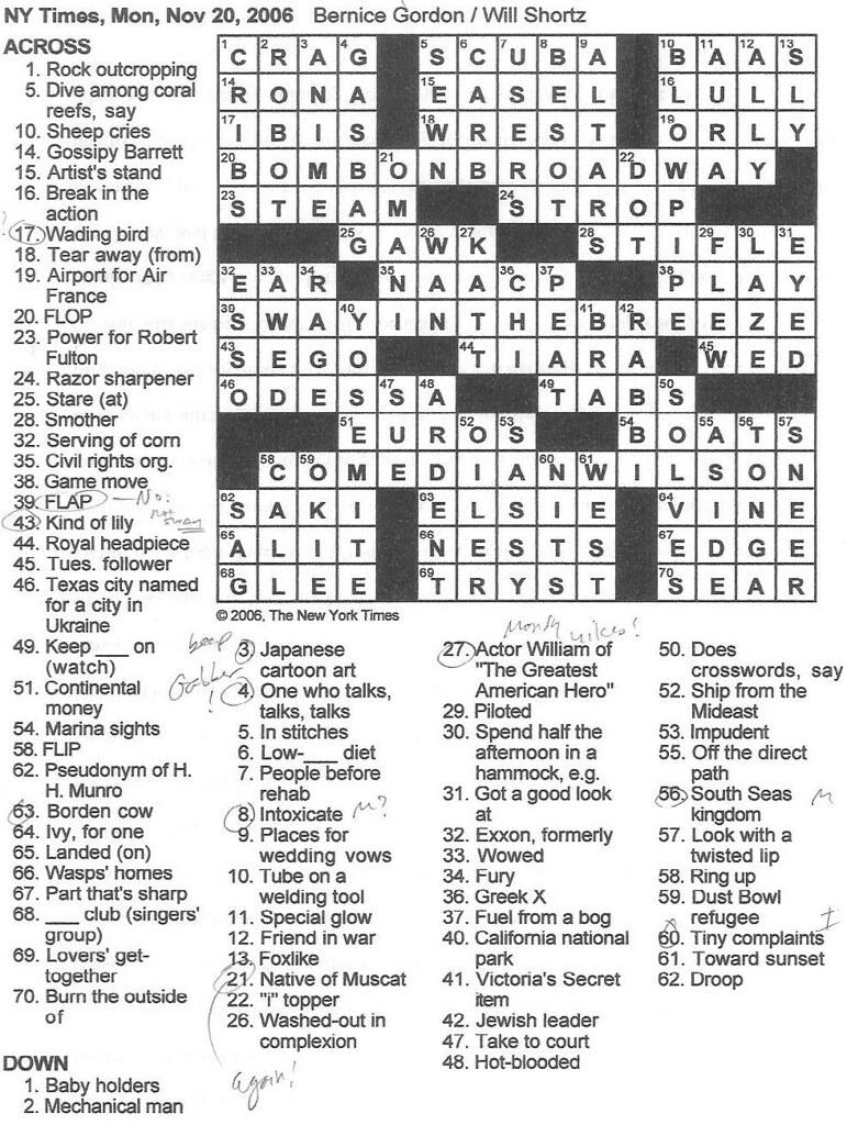 Rex Parker Ny Times Crossword Today : parker, times, crossword, today, Parker, Crossword, Puzzle:, MONDAY,, Bernice, Gordon