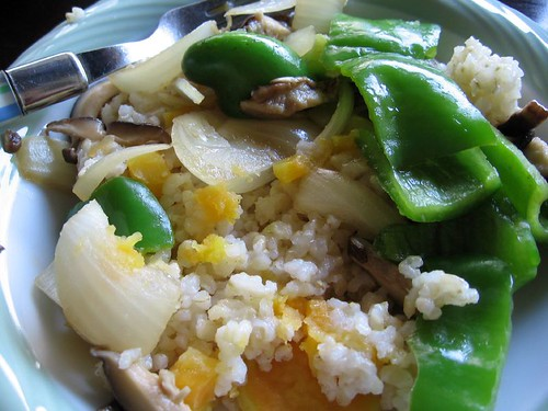 green bell peppers, onions, mushrooms, sweet potatoes and rice