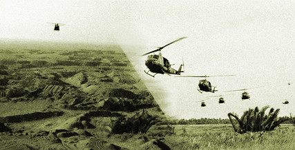 left Chinook Helicopter in Iraq Dec 2003 right Helicopters in South Vietnam 1966
