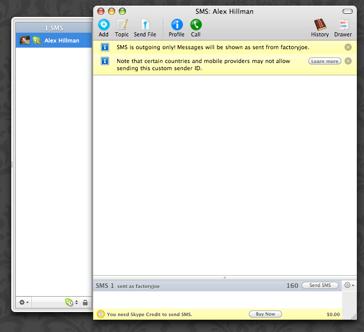Skype SMS chat window
