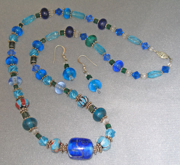 Blue Lampwork & Swarovski Crystal Necklace & Earrings