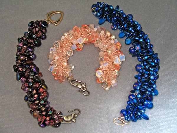Three Woven Bead Bracelets