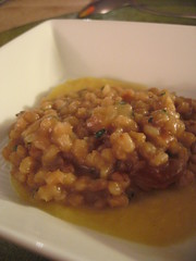 Dissident Chef--5th course: farro risotto w/ chestnut and a carrot/celery root puree