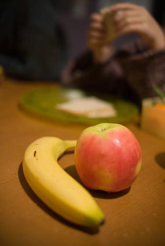 Een banaan en een appel