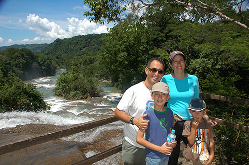 Agua Azul - 04 Family in Middle fall