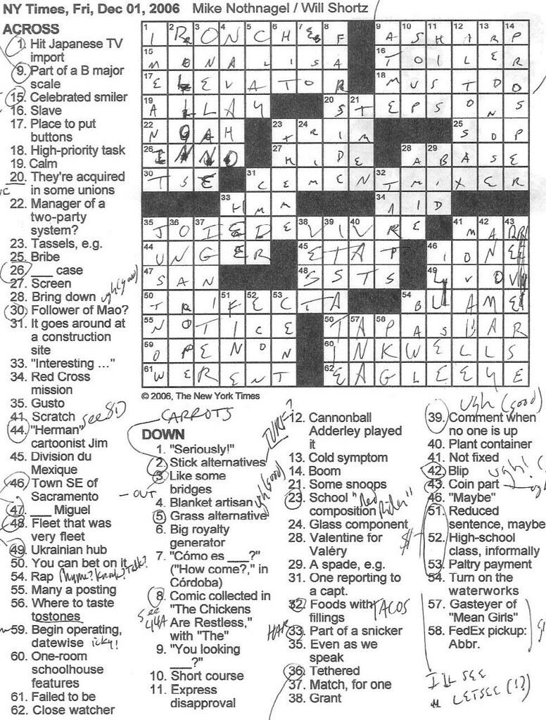 Rex Parker Does The New York Times Crossword : parker, times, crossword, Parker, Crossword, Puzzle:, FRIDAY,, Nothnagel