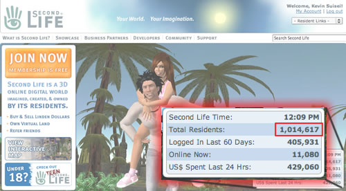 SecondLife breaks one million users!