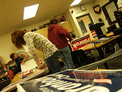 Assembling signs for the mock election
