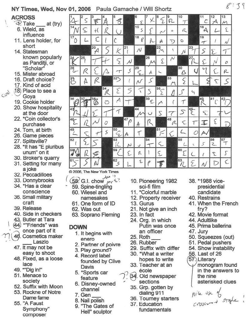 Rex Parker Does the NYT Crossword Puzzle: WEDNESDAY, Nov