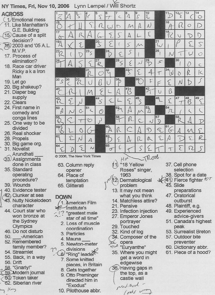 Rex Parker Ny Times Crossword Today : parker, times, crossword, today, Parker, Crossword, Puzzle:, FRIDAY,, Lempel