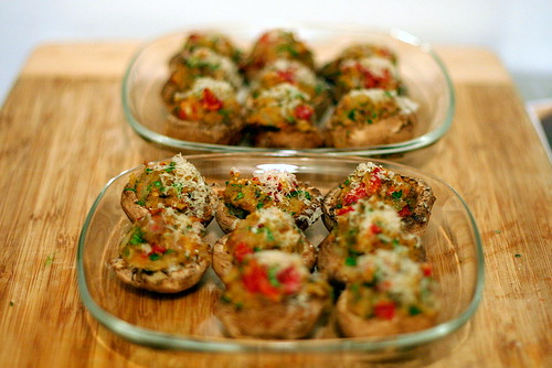 sundried tomato stuffed mushrooms, one missing