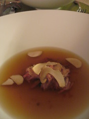 Dissident Chef--4th course: pork trotter consomme w/ porcinis and matsutakes
