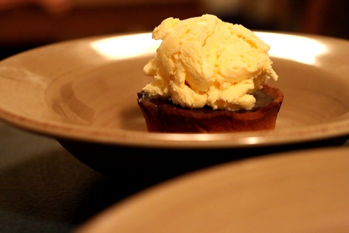 bitter chocolate mini tart with ice cream