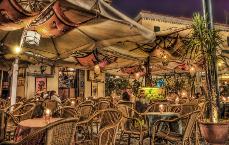 Naples Cafe in the Evening