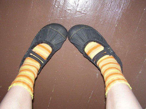 Candy Corn Socks in shoes