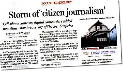 Quoted in Buffalo News on the local citizen journalism phenomenon