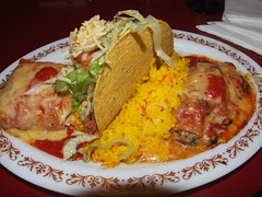 Mexican food from Pot of Gold Mexican Cantina, Wollongong - Enchilada combination - seafood enchilada, tako and chimichanga