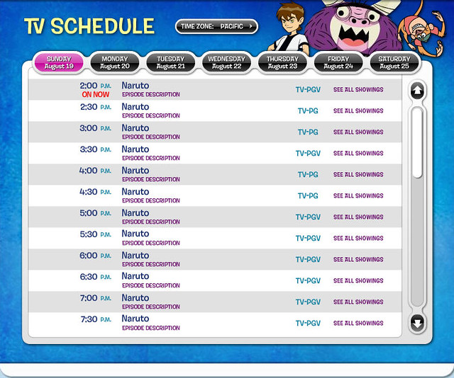 cartoon network schedule