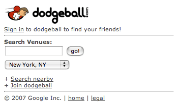 dodgeball mobile (logged out)
