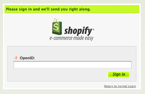 Shopify » Please Log In