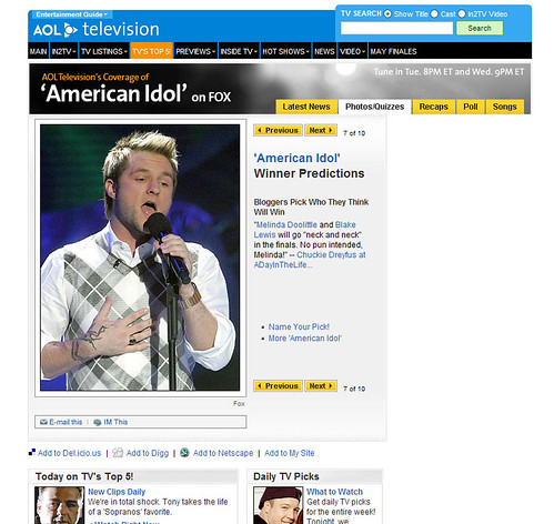 AOL Television - Bloggers Pick Who They Think Will Win American Idol