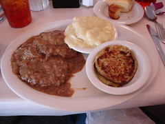 Country Fried Steak and Gravy, Dumplins, Potato Cakes at Mary Mac's Tea Room in Atlanta GA