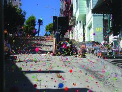 Bouncie balls down a SF street