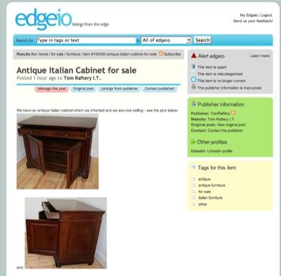 Edgeio listing page