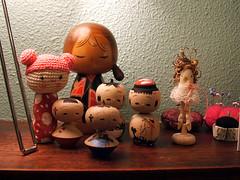 kokeshi and clothespin peeps