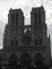 Front of Notre Dame cathedral, a pretty famous face.