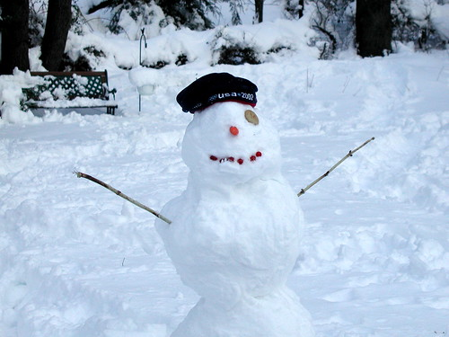 one-eyed snowman
