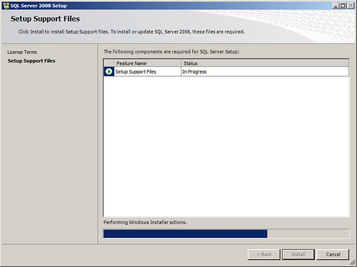 Installing SQL 2008 SP1 Support Files