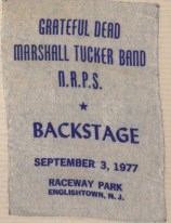 Backstage pass, Grateful Dead Concert, 1977