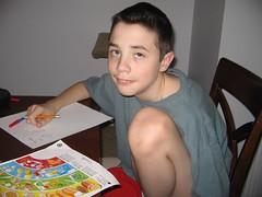Cranky homework boy