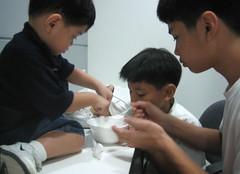 Sharing a p30 bowl of maiz con hielo