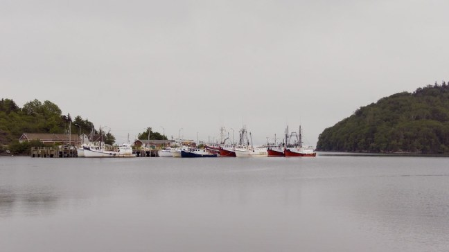 Gloomy view of typical Nova Scotia fishing village