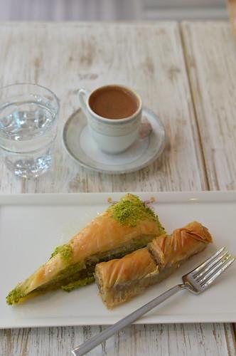 Baklava with Turkish coffee