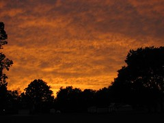 Sunset blazes across the clouds from an outer band of Hurricane Rita, northeastern Oklahoma, 24 September 2005