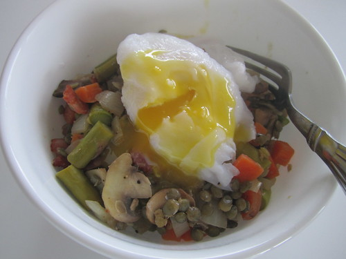 Poached Egg over Warm Lentil Salad