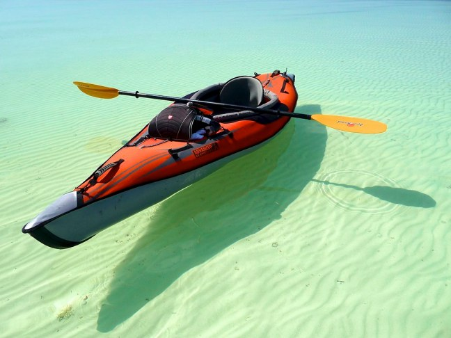 Paddling over a sandbar at Curry Hammock State Park