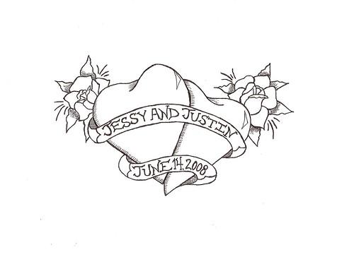 wedding roses rose tattoo ink hearts design heart banner jessyViews: 649