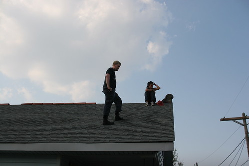 Joel scouts the roof for antenna placement