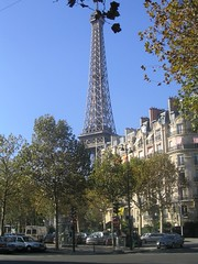 Image of the Eiffel Tower behind some buildings